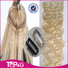 Aliexpress Hot selling 100% virgin remy human hair long curly clip in human hair extension