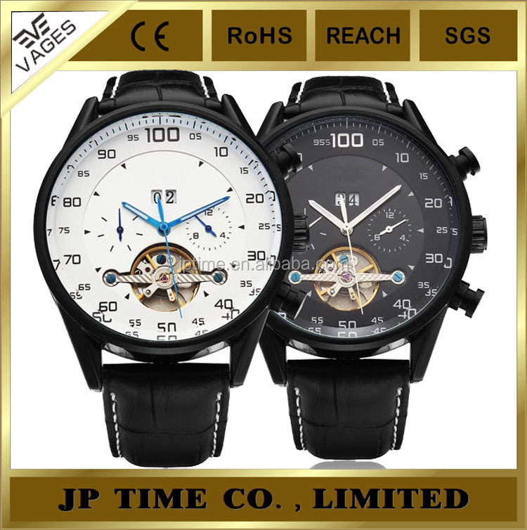 Tourbillon White Black face dail leather band automatic men watch Shanghai automatic movement