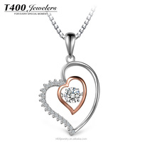 T400 jewelry dancing stone 925 sterling silver heart-shaped Swarovski Zirconia