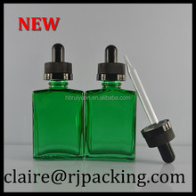 green essential oil glass bottle/square glass perfume bottle trade company 30ml square glass bottle