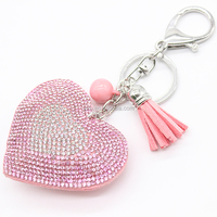 2017 New Arrival Customized Leather Crystal Rhinestone Heart Keychain Leather Tassel Heart Key Holder Keychain