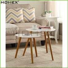 Brilliant White Finish Wood Top Nesting Table/Homex_BSCI