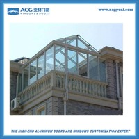2016 factory price aluminum and glass sunshine glass house customized glass house free standing sun rooms