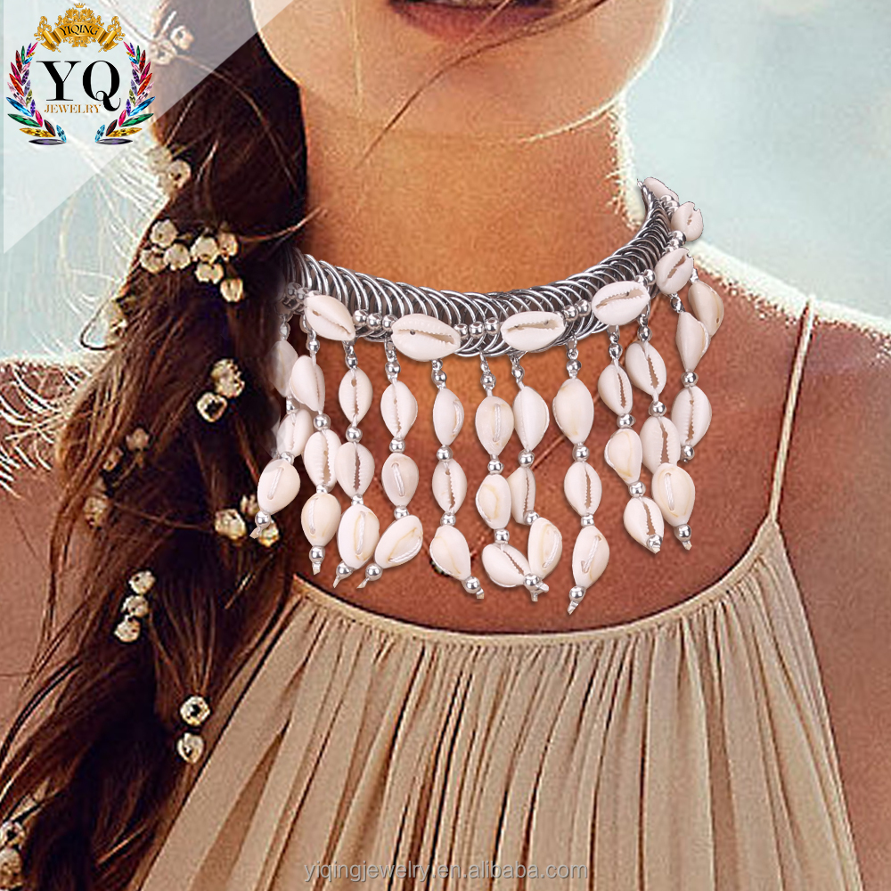 NYQ-00776 2017 latest design elegant handmade hanging shell tassel natural shell necklace shell choker collar jewelry