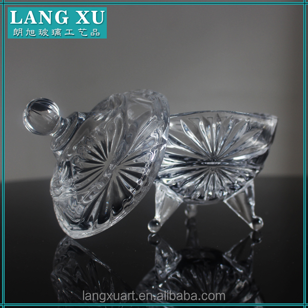 LX-T059 decorative candy dishes clear crystal glass sugar bowl with lid