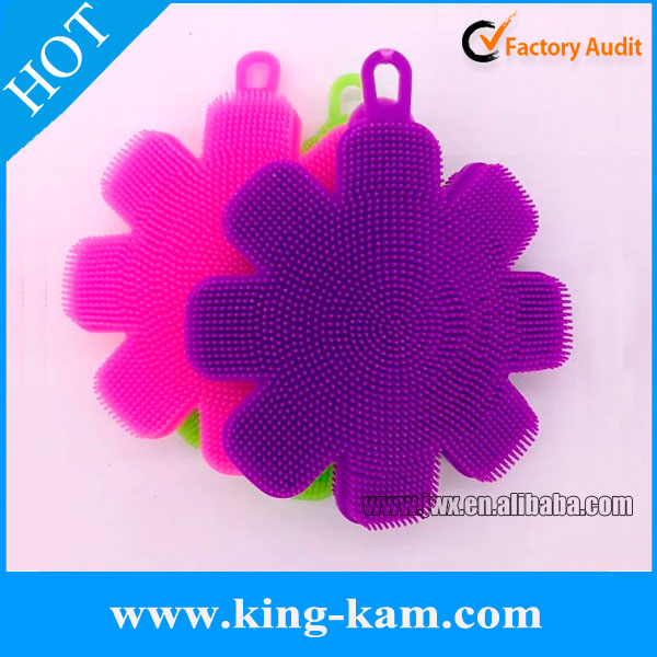 Flower shape silicone shower soft baby bath brush