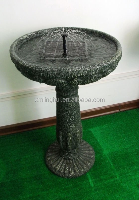 Round Resin Solar Water Features Garden Fountain