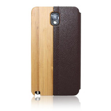 Laser engraved mobile phone case wood+leather phone shell bottom price back cover for Samsung note3