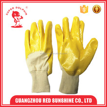 Top sale chemical resistant yellow latex coated cotton glove