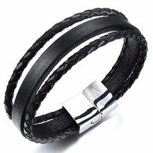 Cowhide Stainless Steel Fine Quality Allergy Free And Anti-Fading Plain Leather Bracelet