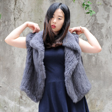 CX-G-B-192C Perfect Sexy Grey Women Real Rabbit China Fur Vest