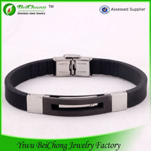 2014 wholesale black silicon rubber band bracelet with magnetic clasps for bracelets S5-0038