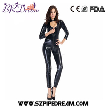 Black Leather Lingerie Sexy Body Suits For Women Erotic Leotard Body Suit Bondage Tight corset jumpsuit open fork