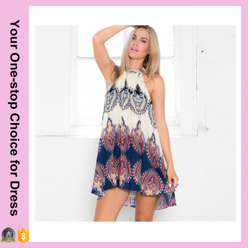 Fashion Women Boho Dress Loose Printed Halter Neck Sleeveless Mini Summer Dress