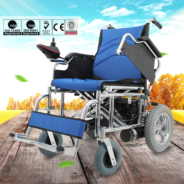 Folding widened seat comfortable motorized power wheelchair for stroke