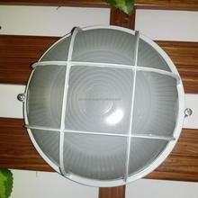 Small round aluminium bulkhead with guard Mains powered Large round outdoor aluminium bulkhead light