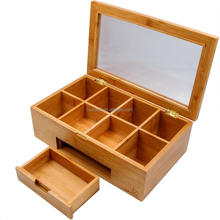 Factory custom logo bamboo sliding drawer 8 compartments foldable box wood storage box with magnet
