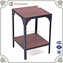 antique corner square end table , metal wood tea table design
