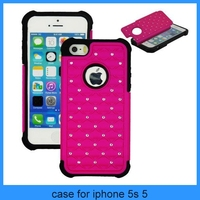 For iphone 5 bling phone case New Hybrid Rugged Rubber Bling Crystal Hard Case Cover for iPhone 5 5S(PT-I5248)