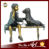 Garden Decoration Bronze Girl Statue With Dog Statues