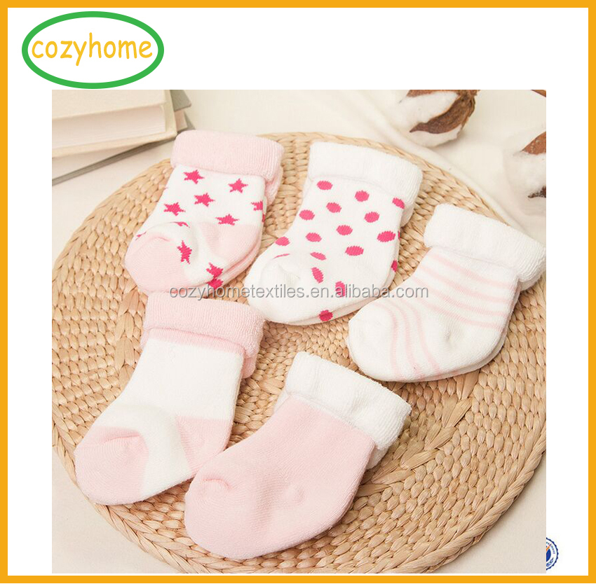 High Quality Custom Stripe Cuff Terry Fancy Baby Socks Cotton Baby colorful Sock