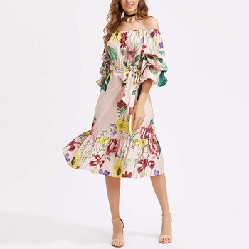 Fashion ruffle floral off the shoulder women maxi dress long sleeve