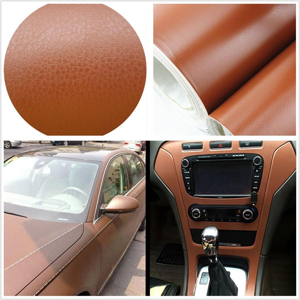 "1539""3D Brown Leather Teture Decal Dashboard Trim Decorative Sticker Universal"