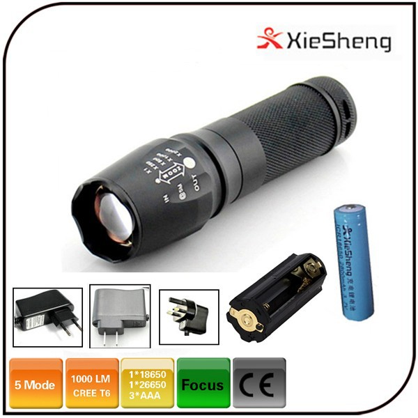 CE ROHS T6 handy torch 3.7V 18650 or AAA battery 5-mode high power zoom focus 26650 led flashlight