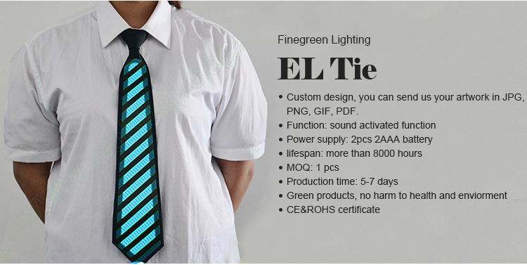 Be special!!!Custom el flashing tie/sound activated el tie/light up tie for party ,club,Festival