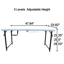 1.2m white,height adustable folding and camping table