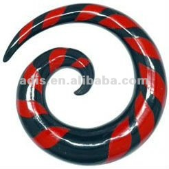 Red Water Buffalo Horn Zebra Flame Buffalo Spiral , acrylic ear spiral