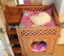 Indoor Wooden Cat House with Balcony & Ladder / Small Puppy Dog House / Pet Kennel
