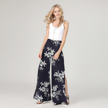 Summer Long Side Slit Print Wide Pants High Waist New Fashion Trousers Women