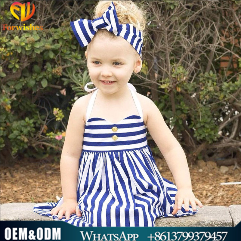 Desi girl photo baby clothes children frock design blue white stripe pictures halter girl party dress with striped headband