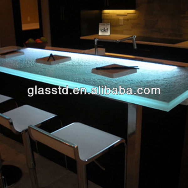 40mm unique glass top wooden leg dining table