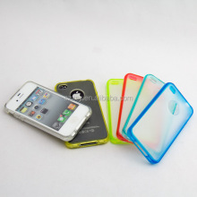 Matte transparent hard PC back panel soft TPU bumper mobile phone cover case for iphone 4s