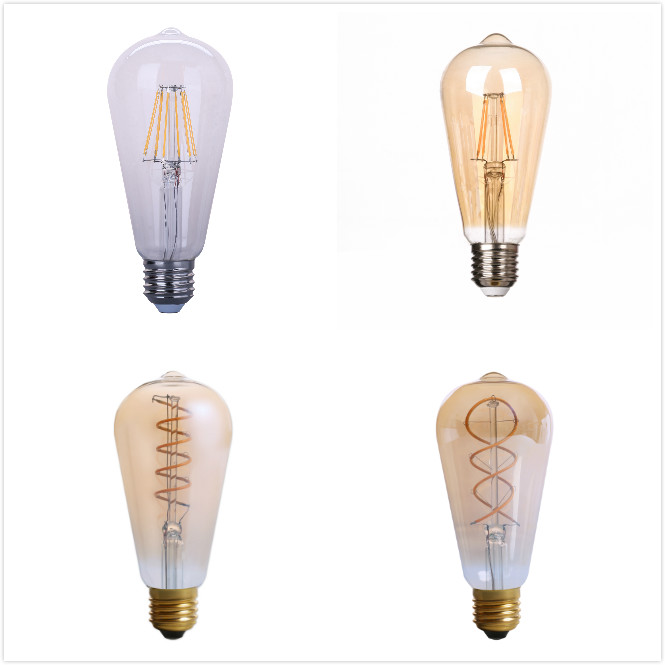 wholesale price retro vintage vertical wire edison style dimmable e26e27 2w4w6w8w led soft long filament st64 bulb