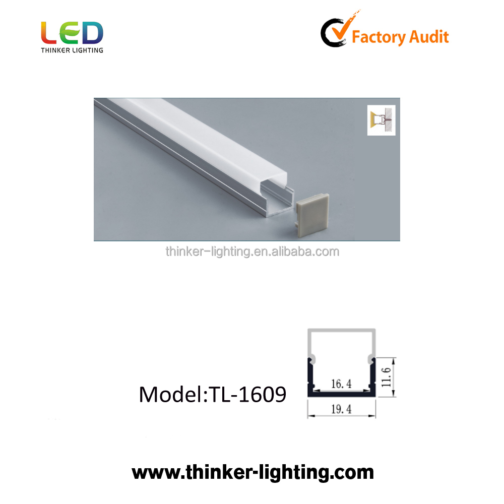19.4x11.6mm aluminum led edge lit profile milky plastic cover 1m 2m 3m for led light bar