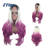 Cheap Fashion Synthetic Hair Wig purple Colored Cosplay Party Wig For Wholesale