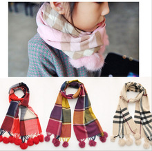 2017 Winter Hot fashion baby cotton plaid wool ball scarf shawl