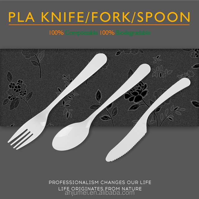 100% Biodegradable Disposable PLA Plastic Cutlery Spoon Fork And Knife