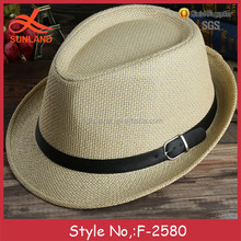 F-2580 new hot selling unisex summer panama hats wholesale belt decoration cheap gangster hat