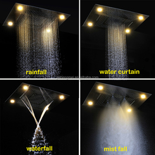 ORB Oil Rubber Bronze LED Shower Heads Concealed Multifunction Shower Faucets Spray 600*800mm Rain Waterfall Mist