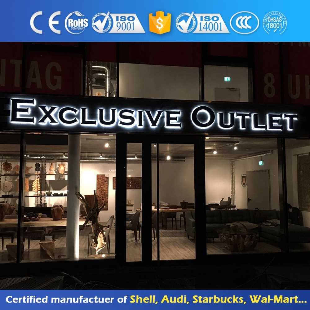 Stainless Steel Acrylic Backlit Sign Led Edge Illuminated Channel Letter Signboard
