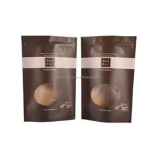 Matte Finish Stand Up Zipper Pouch With Round Clear Window For Cookie Biscuit Food Snack Packaging Bag
