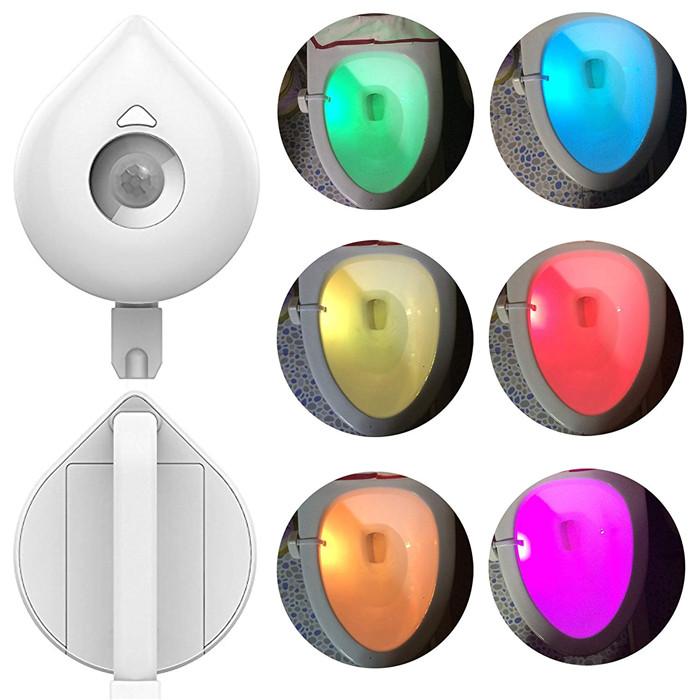 Ningbo battery powered 8 colors random switching motion sensor toilet bowl light,waterproof LED toilet night light with detector