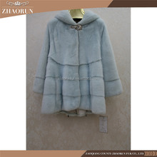 China Supplier Imported Mink Fur Jacket Blue Women Genuine Mink Fur Coat For Winter