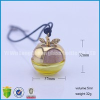 small apple shape hanging car perfume glass bottle .car air freshener