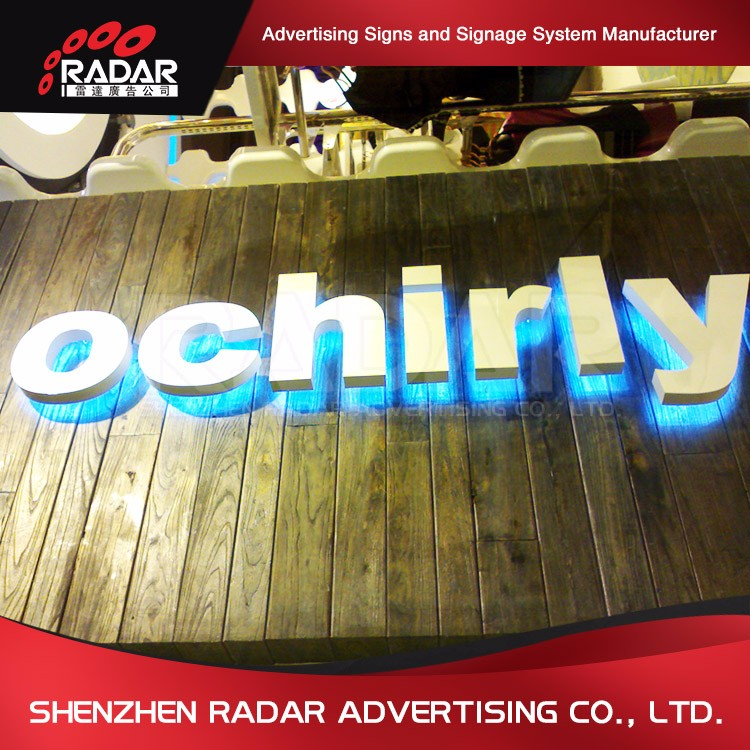 Stainless Steel Side shop brand led backlit outdoor signage backlit hola letters
