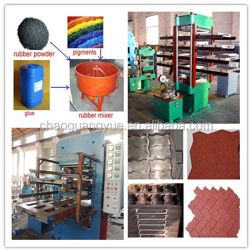 Floor mats making plant / rubber tiles production equipment / waste tire rubber powder recycling machine